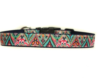 1 Inch Wide Dog Collar with Adjustable Buckle or Martingale in Tribeca