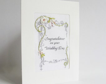 Wedding card, silk ribbon embroidered card, wedding congratulations card, handmade card, ribbon embroidery