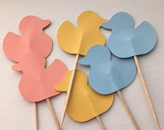 Rubber Duck Cupcake Topper/Party Picks - Set of 12