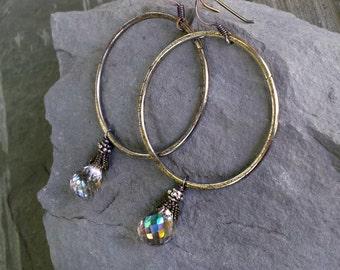 Silver Hoop Rustic Gemstone Artisan Earrings, Oxidized Silver, Urban, Rocker, Artisan, Mystic Rainbow Smoky Quartz, Big Hoop Statement