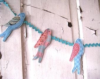 Handmade BIRD Banner Bunting Turquoise