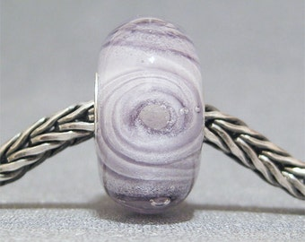 SMALL CORE Glow in the Dark Lampwork Bead Pale Purple Cyclone