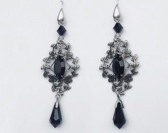 Victorian Gothic Dangle Earrings Black Swarovski Drop Earrings Silver Leaves Floral Filigree Elegant Romantic Jewelry