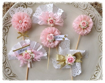 Mother's Day Decoration Shabby Chic Cupcake Toppers for Mother's Day