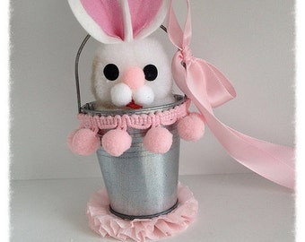 Easter Decoration Vintage Easter Bunny Decoration in a Tin Pail  Easter Decoration Easter Ornament for Easter Party TVAT
