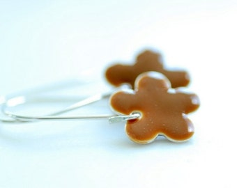 Cinnamon Brown Earrings, Enameled Earrings, Caramel Enameled Flowers and Sterling Silver