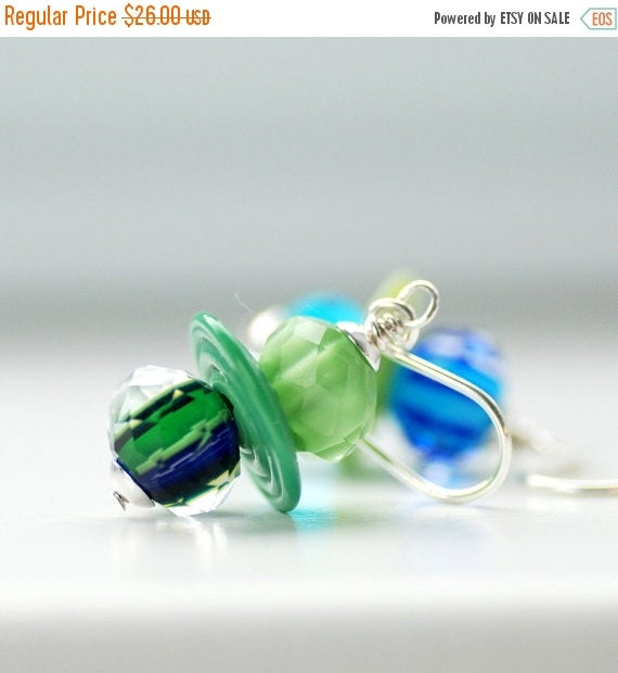 Funky Earrings, Asymetrical Jewelry, Mismatched Earrings, Blue and Green Earrings, Ocean Blue, Mint Green, Sterling Silver - Coney Island