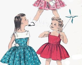 1950s GirlsTucked Dress Sleeveless Dress Advance 8599 Vintage Sewing Pattern Size 2 UNCUT No Envelope