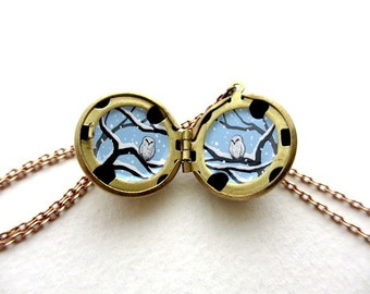 Snowy Owls, Tiny Oil Painting in Locket, Love Necklace for Valentine