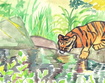 ACEO Print Tiger Reflection Wild Jungle Tiger Feline Animal Art Print ACEO Art Print