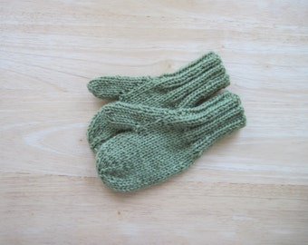 Child Wool Mittens Small Hand Knit Pale Olive