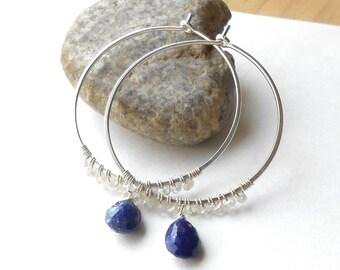 Beaded Gemstone Silver Hoop Earrings, Lapis Lazuli and Zircon, Wire Wrapped Hoops