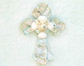 Reserved for Sheila Only! Shell Cross,Abalone Seashell Crucifix,Aqua White Cross,Cross with Shells,Religious Gift,Baptism New Baby Gift