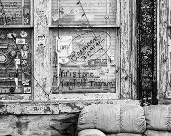 Front Porch of Mississippi Delta Blues Club, black and white photograph, Clarksdale Mississippi, music