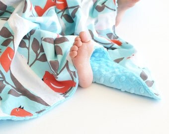 Patchwork Baby Girl Blanket, Tweetie Pie (4) Print Patchwork Lovie with Minky