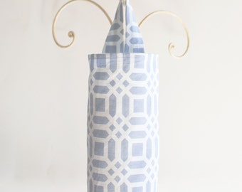 Fabric Plastic Grocery Bag Holder Grey Vivid Lattice