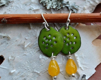 Olive Green Enamel Earrings