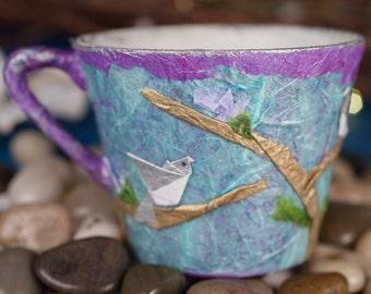Upcycled Origami Bird Decoupage Teacup
