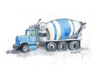 Blue Cement Mixer Truck - Boys Cute Truck Print - Watercolor Wall Art Print for Boys