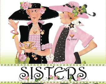"AP6.3 - Two Sisters - 6"" Fabric Art Panel"