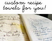 2 custom towels with 2 recipes each for Kendall