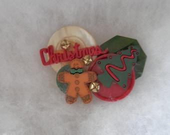 vintage Handmade Mixed Media Christmas Pin / Brooch