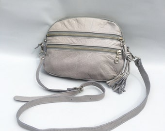 AW13 Leather bag in cement grey - converts to clutch