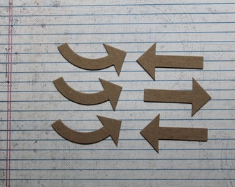 6 ARROW bare chipboard die cuts 2 different styles curved and straight