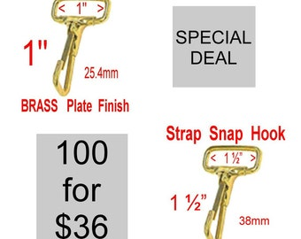 """100 PIECES - 1"""" or 1 1/2"""" - Strap Snap HOOK, BRASS Plate Finish, Purse Clip - Non Swivel"""
