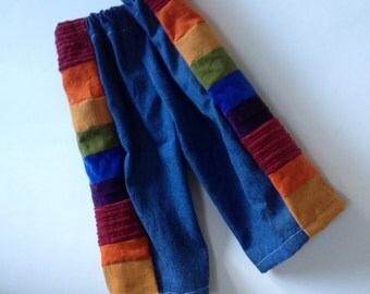 READY to SHIP...6-12 Months...Pants for Boys or Girls...baby  toddler.. rainbow corduroy and denim patchwork.