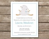 PRINTABLE - Lamb Baby Shower Invitation - Sheep - Boy - Blue