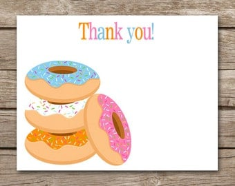 Doughnut Thank You Cards - Donut Party - Donut Birthday - Girl - INSTANT DOWNLOAD, PRINTABLE