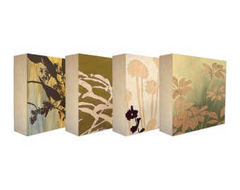 Set of 4 Art Blocks - Limited edition botanical prints on birch panel, plant silhouettes 5x5 - Free Shipping, Ready to hang - Outdoor Beauty