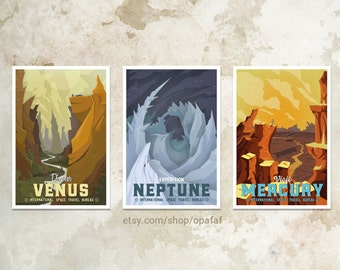 3 Pack - Planet Travel Posters WPA style - 13x19