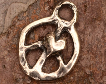 Peace Charm with Heart in Sterling Silver 14mm, Sterling Silver Peace Charm