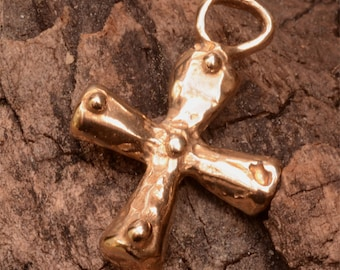 Coptic Cross with Five Holy Wounds in Gold Bronze, 5 Dots Cross