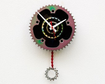 bike wall clock, bicycle gear clock, bike lover gift, bike clock, pendulum wall clock, colorful Recycled Bike gear clock, 45 Record Clock