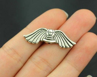 8pcs Angel Wing Charms space bead Pendant Antique Silver Tone 2 sided - SC209