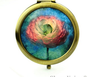 1pcs  Vintage Rose Mirror Compact , Makeup Mirror, Antique Bronze Silver Gold Flower Pocket Mirror - HPM012N