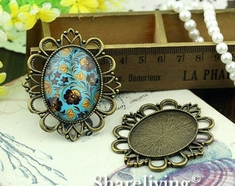 10% OFF SALE - 2pcs 30x40mm Antique Bronze Cameo Base Setting Pendant / Charm AS325