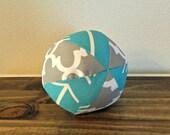 Fabric Ball - Baby Ball - Arrows - Gray - Aqua - neutral