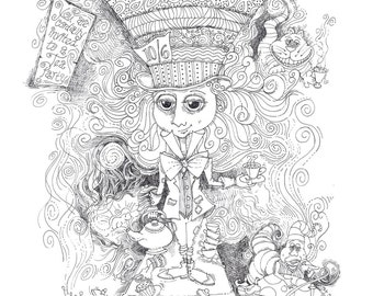 Coloring Page Instant Download Mad Hatter Tea Party