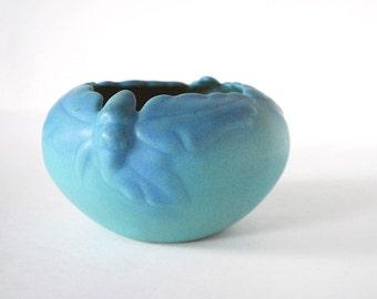 Van Briggle Bowl, Ming Blue Glaze, Vintage Acorn Oak Leaf Ceramic Vase, American Art Pottery, Turquoise Bowl, Cottage Chic Decor