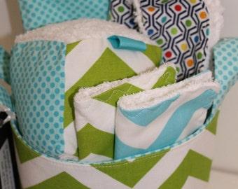 Green Chevron Baby Gift Basket---Ready to ship--- Baby Shower Gift---- New Mom Gift