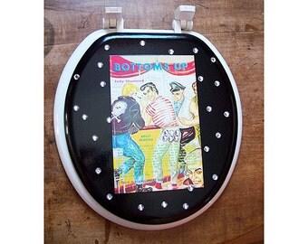 Gay pulp toilet seat retro 1950's vintage pin up beefcake bathroom kitsch