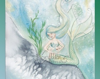 Double the Love Twin Baby Mermaid Original Watercolor Painting by Camille Grimshaw
