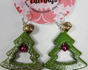 Ugly Christmas Earrings Green Trees