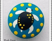 POSH KNOBS Sea Turtle Hand Painted Wooden Knobs, Drawer Pull, Nursery Decor, Custom Painted to Order...Priced per Knob