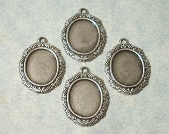 3 - Antique Silver Plated Settings, 12x10mm Cabochon Settings, Earring Drops, Earring Components