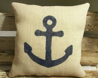 "Navy Anchor Burlap Stuffed Pillow Nautical Summer Pillow 12"" x 12"" Beach House Pillow"